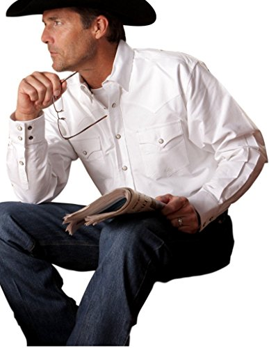 Miller Ranch Men's Solid White Classic Snap Oxford Long Sleeve Shirt White ()
