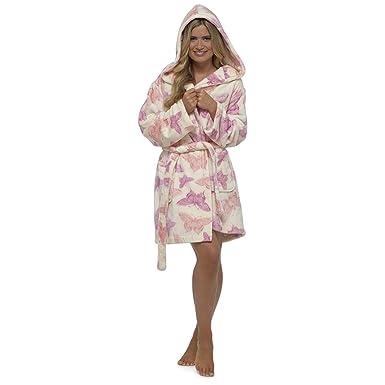 Foxbury Womens/Ladies Hooded Butterfly Print Fleece Dressing Gown ...