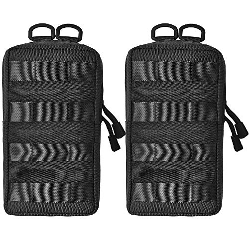 GZSAIPASI 2 Pack 100% Full Refund Assurance 1000D Nylon Molle Tactical Pouches Compact Utility EDC Waist Bag Pack Small Gear Gadget for Backpack (Black)