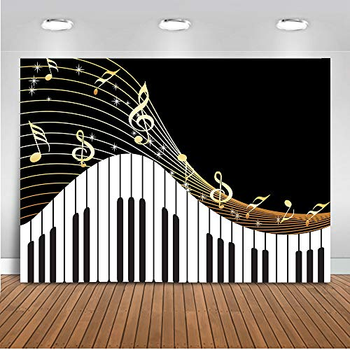 rop Black and White Piano Keys Photography Background 7x5ft Vinyl Music Piano Themed Live Birthday Party Banners Backdrops ()