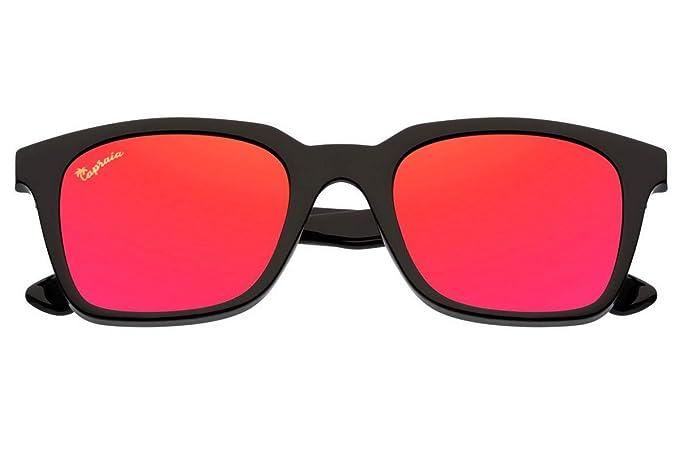 Capraia Vespolina Amplias Rectangulares Vintage Gafas de Sol Ultra Ligeras Alta Calidad TR90 Montura Negra y Lentes Rojas Espejadas Polarizadas ...