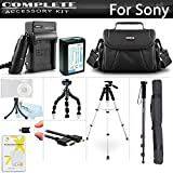 Advanced Accessory Kit For Sony Alpha a6000, a6500, a6300, a5100, a5000, Alpha a7, a7K Interchangeable Lens Camera Includes Replacement NP-FW50 Battery + Charger + Case + 57 Tripod + 67 Monopod ++