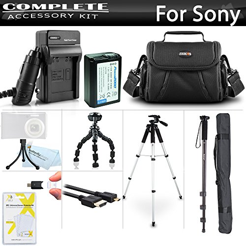 Advanced Accessory Kit for Sony Alpha a6000, a6500, a6300, a5100, a5000, Alpha a7, a7K Interchangeable Lens Camera Includes Replacement NP-FW50 Battery + Charger + Case + 57 Tripod + 67 - Kit Advanced Accessory
