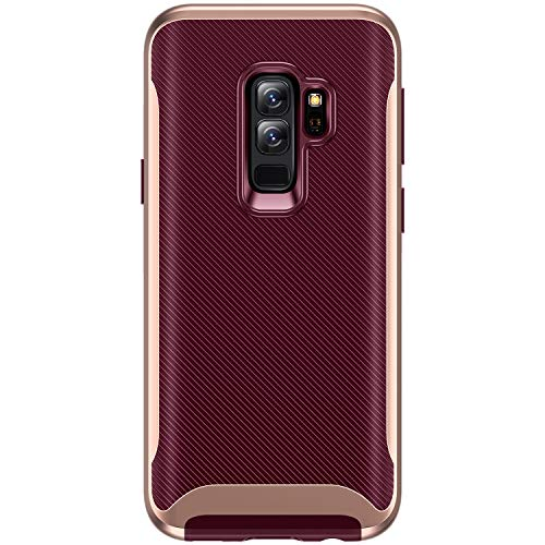 - TORRAS Galaxy S9+ Plus Case, 2 in 1 Hybrid Fit Soft TPU Rubber Cover with Reinforced Hard Bumper Frame Slim Anti-Scratch Phone Case for Samsung Galaxy S9+Plus, Burgundy/Rose Gold Edge