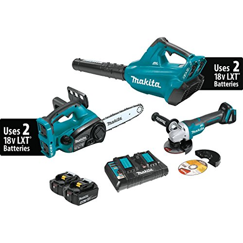 Makita XT274PTX 18V X2 (36V) LXT Lithium-Ion Cordless 2 Piece Combo Kit (5.0Ah) & Brushless Angle Grinder by Makita
