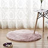 CHITONE Luxury Faux Sheepskin Area Rugs Supersoft Fluffy Shaggy Round Floor Carpet Mat Decorative Throw Cover- Children Play Carpet For Living & Bedroom Sofa Light Pink, 2 ft Diameter