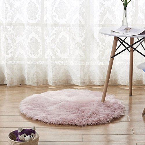 Cheap CHITONE Luxury Faux Sheepskin Area Rugs Supersoft Fluffy Shaggy Round Floor Carpet Mat Decorative Throw Cover- Children Play Carpet For Living & Bedroom Sofa Light Pink, 2 ft Diameter