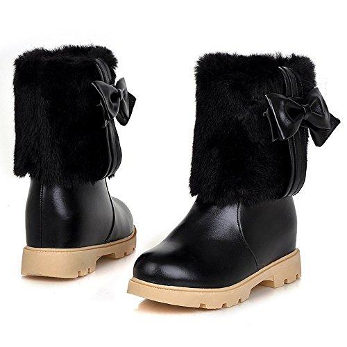 Pull TAOFFEN Boots Heel On Hidden 3295Black Women PnRn7Bxa