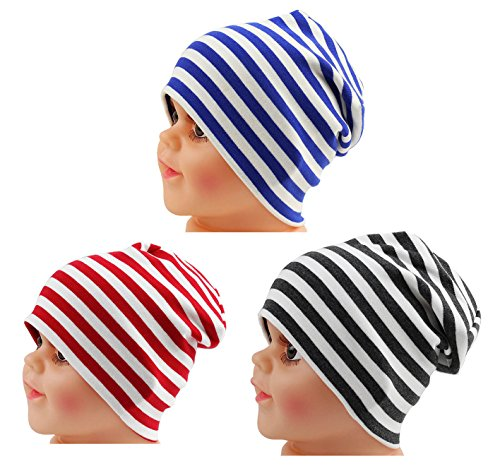 JAKY Global Cotton Kids Beanie Hat for Cute Baby Boy/Girl Toddler Ribbed Knit Children Winter Cap(Black White-Blue White-Red White(3pcs) -