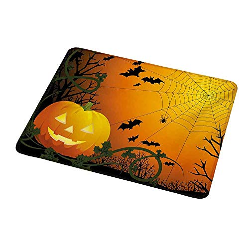 Gaming Mouse Pad Spider Web,Halloween Themed Composition with Pumpkin Leaves Trees Web and Bats,Orange Dark Green Black,Custom Non-Slip Mouse Mat 9.8