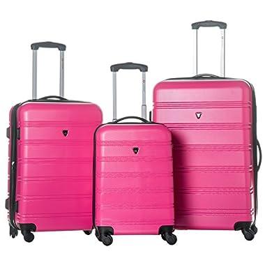 Merax Travelhouse Luggage 3 Piece Expandable Spinner Set (Rose)