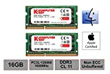 Komputerbay 16GB Dual Channel Kit 2 x 8GB 204pin 1.35v DDR3-1600 SO-DIMM 1600/12800S (1600MHz, CL11) for MAC and PC