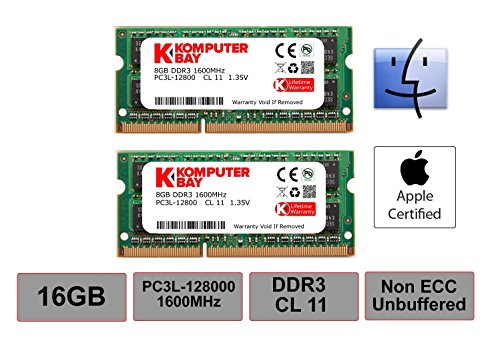 Komputerbay 16GB Dual Channel Kit 2 x 8GB 204pin 1.35v DDR3-1600 SO-DIMM 1600/12800S (1600MHz, CL11) for MAC and ()