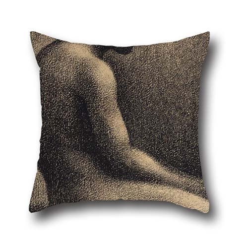Oil Painting Georges Seurat - Seated Nude- Study For 'Une Baignade' Cushion Covers ,best For Coffee House,kids Room,car Seat,office,her,him 18 X 18 Inches / 45 By 45 Cm(2 Sides)