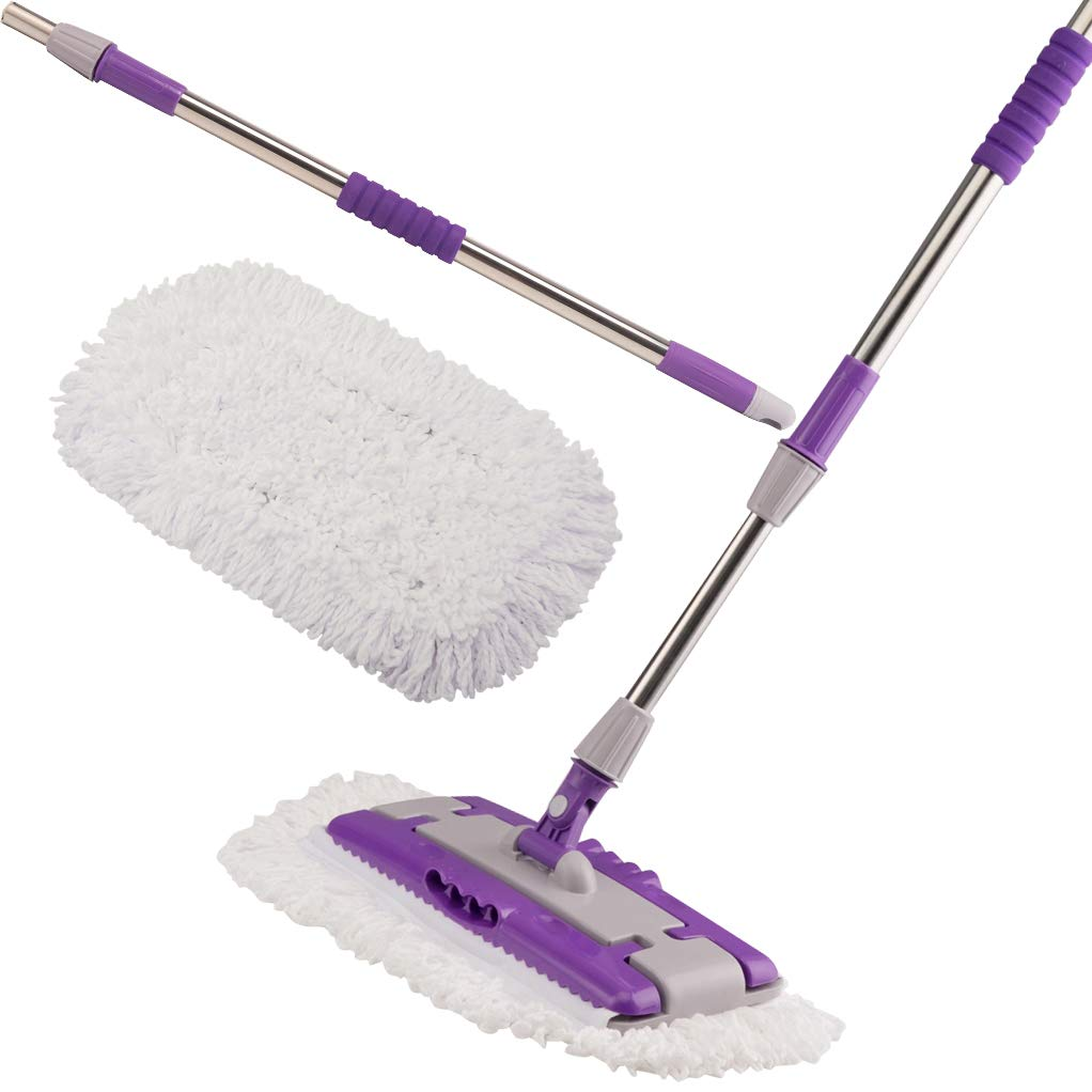 Professional Microfiber Floor Mop, Hardwood Dust Mop Kit Adjustable Stainless Steel Handle with 2pcs Reusable Dry & Wet Mop Pads for House Kitchen Bathroom Pet Hair Fur, Extends Up to 4 Feet by handrong