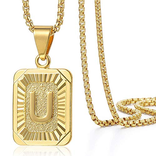 (Trendsmax Initial Letter Pendant Necklace Mens Womens Capital Letter Yellow Gold Plated U Stainless Steel Box Chain)
