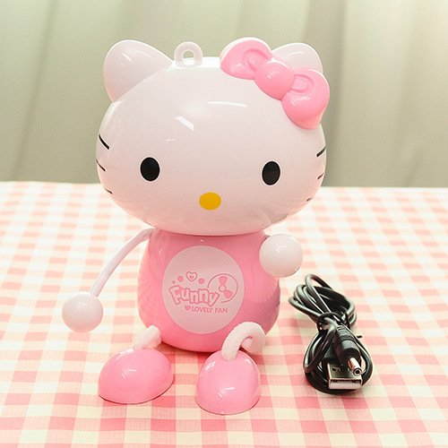 Decorating Super Cute Hello Kitty Handhold USB Mini Desktop Fan with On/off Switch (Pink)