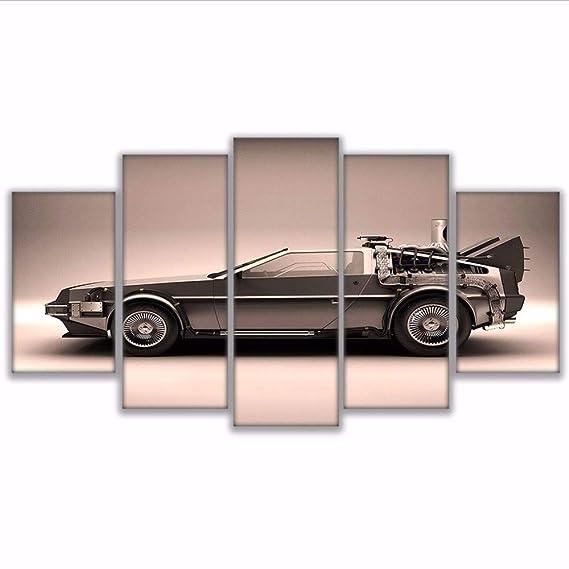 Fyyanm HD Decoración para El Hogar Moderno Lienzo Sala De Estar 5 Piezas Regreso Al Futuro Cuadros Pintura Arte De La Pared Modular Impreso Marco del ...