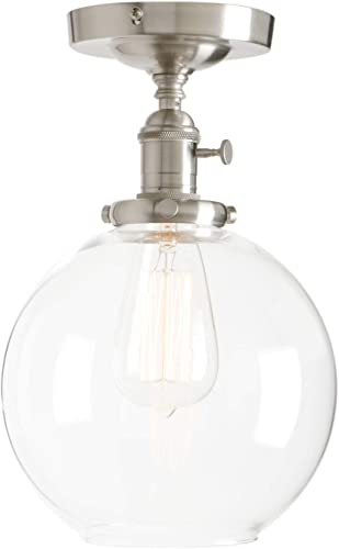 Permo Vintage Ceiling Light 1-Lights Pendant Lighting Chandelier with 7.9 Globe Clear Glass Brushed