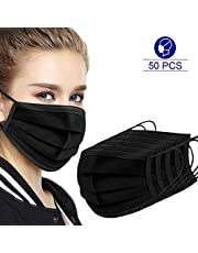 50 Pcs Disposable Face Cover 3 Layers Breathable Anti Dustproof Protection Mouth Black Face Cover Black