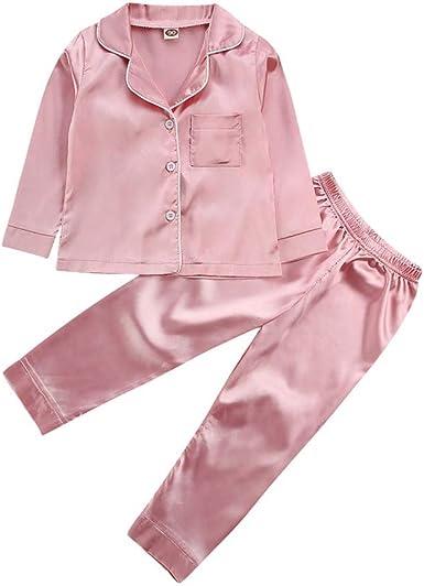 Pijamas de seda de satén para bebé y niña, de manga larga, ropa de dormir - rosa - 2-3 años