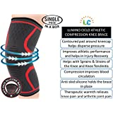 Lumino Cielo Athletic Compression Knee Brace for Joint Pain Relief, Arthritis, Injury Recovery, Sports, Hiking, ACL recovery (One Piece) (L, Red Trim)