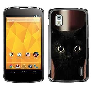 PC/Aluminum Funda Carcasa protectora para LG Google Nexus 4 E960 Black Kitten Cat Bombay Nebelung / JUSTGO PHONE PROTECTOR
