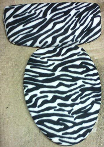 (Zebra Black White Fleece Fabric COVER Toilet Seat Lid, Tank Top)