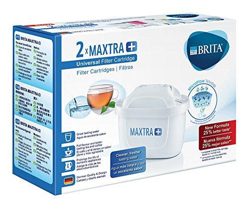 🥇 BRITA MAXTRA+ – 2 filtros para el agua – Cartuchos filtrantes compatibles con jarras BRITA que reducen la cal y el cloro