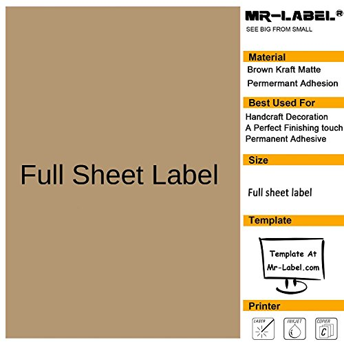 Mr-Label Full Letter Sheet Extra Large Size Kraft Labels –Self Adhesive Stickers for Decoration|Hand Craft| Finishing Touch (25 Sheets)