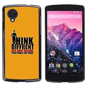 Be Good Phone Accessory // Dura Cáscara cubierta Protectora Caso Carcasa Funda de Protección para LG Google Nexus 5 D820 D821 // Orange Order Suppression Conspiracy