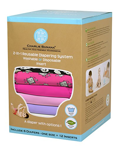 Charlie Banana 2-in-1 6-Piece Reusable Diapers, Matthew Langille Girl by Charlie Banana