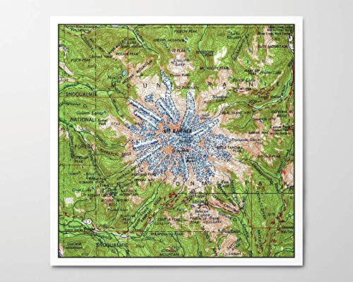 (1950s Mount Rainier National Park Map, Archival Art Print Reproduction, Square, 8x8 inches, Unframed)
