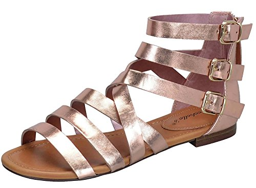 Breckelles Féminines Covina-24 Sandales Plates Strappy Gladiator Rose Or