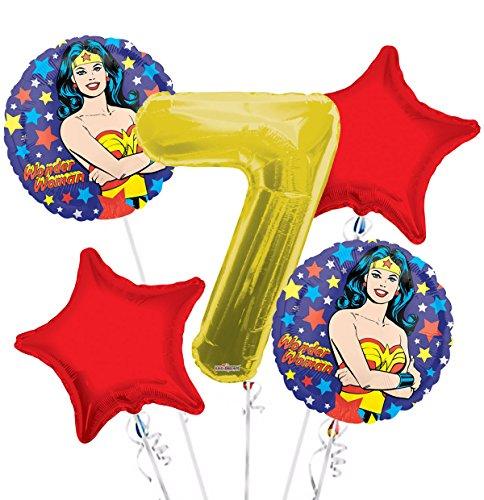 Wonder Women Balloon Bouquet 7th Birthday 5 pcs