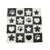 Menu Life 16pcs Black and White Children Kids Baby Soft EVA Foam Activity Playmat Playroom Floor Tiles Pop-out Jigsaw Puzzle Mat (Black and White Multi)