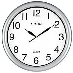 Adalene Wall Clocks Battery Operated Non Ticking - 11.5 Inch Silver Wall Clock Silent, Black Large Numbers, Quiet Analog Quartz Decorative Wall Clock For Kids Bedrooms, Living Room, Kitchen, Bathroom