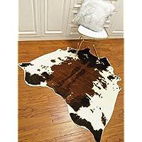 Cow Hide Skin Rug Cowhide Print Carpet Faux Leather Area Rug Slip-Resistant Mat 4.1x4.2 Feet