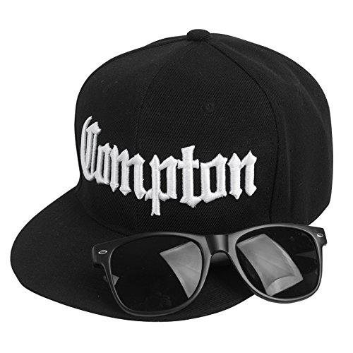 Compton Costume Kit Bundle Pack (Includes black snapback and one black (Eazy E Compton Hat)