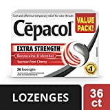 Cepacol Extra Strength Sucrose Free Cherry Value Pack, Sore Throat Lozenges 36 Count