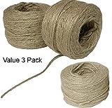 TODO propósito Jute cordel , Pack de 3 reciclar hogar y jardín Extra fuerte de manualidades ambientalmente Friendl multiusos de cuerda y todas las fibras vegetales naturales