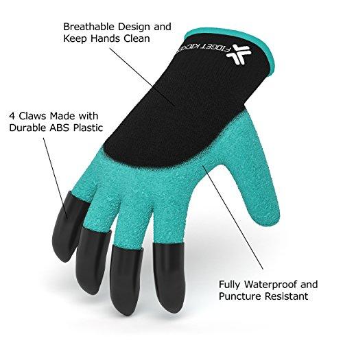 Garden Gloves - Garden Genie Gloves - Gardening Gloves Waterproof - Dig Gloves - Garden Gloves with Claws - Plant Gloves - Roses Garden Gloves - Quick, Easy, Efficient