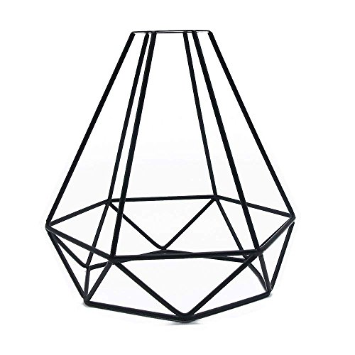 Retro Cage Light Shade, Jeffrien Vintage Industrial Metal Basket Diamond Cage Pendant Lamp Shape Lighting Fixture for Office Home Loft Bedroom Kitchen