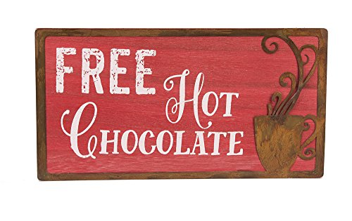 "Free Hot Chocoloate 9 1/2""x3/8""x5"" Modern Wall Sign"