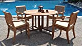 New 5 Pc Luxurious Grade-A Teak Dining Set: 48″ Round Butterfly Table and 4 Arbor Arm Stacking Chairs For Sale