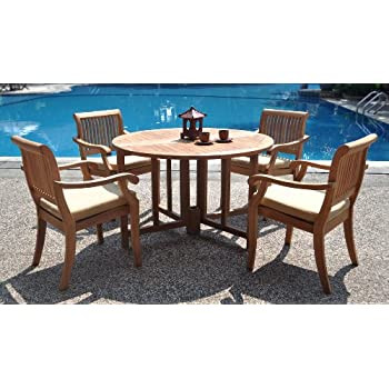 Awesome New 5 Pc Luxurious Grade A Teak Dining Set: 48