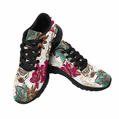 Chaussures De Course De Trailprint Womensprint Footing Jogging Sports Légers Marchant Des Baskets Athlétiques Crâne, Coeurs Et Fleurs Multi 1