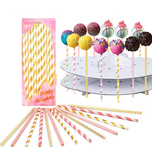 Cake pop sticks Lollipop treat sticks Colorful Lollipop Sticks 100 Pcs Straws Colorful Cake Pops Making Tools for Cake Pop DIY Homemade Fruit Candy Chocolate Lollipop Ice Cream And -
