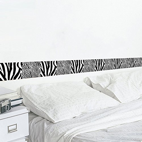 Wallpaper Border Home Decor Zebra Stripes Removable Vinyl Peel and Stick Wall Border Waist Line for Livingroom Wall (Zebra Stripes Wallpaper)