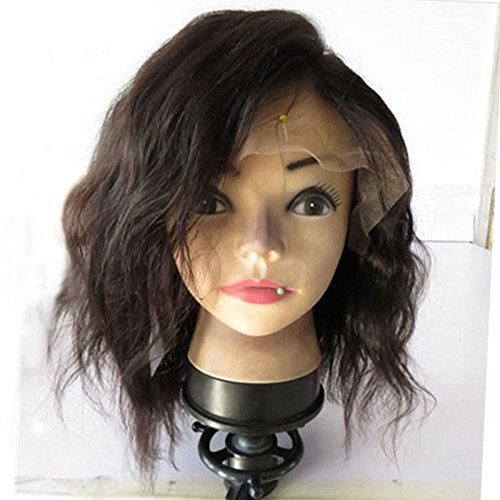 Ten Chopstics Wig Cheap Curly Short Human Hair Wigs for Black Women 8 Inches Bob Wig Glueless Lace Front Wigs with Baby Hair Side Part 100% Unprocessed Brazilian Hair Wigs (8 Inch/full lace wig)